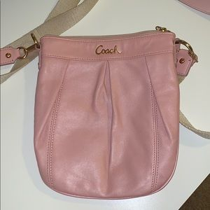 authentic leather pink Coach crossbody purse